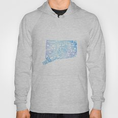 Typographic Connecticut - blue water Hoody