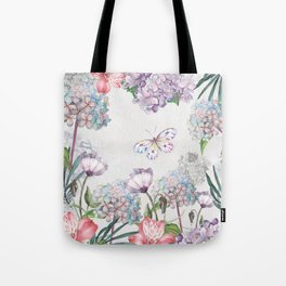 Watercolor Garden Flowers and Butterfly Tote Bag