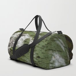 Birch Bark Pattern Green and White Wood Pattern Bring the Outdoors In Duffle Bag