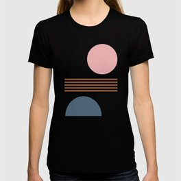 Minimalist Shapes Collage in Blush, Navy, and Rust T-shirt
