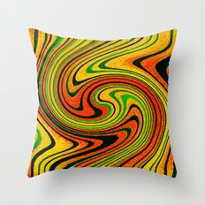 Psychedelic Summer Swirl Watercolor Painting Throw Pillow