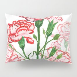 pink and red carnation watercolor painting Pillow Sham