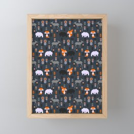 Wild foxes, deer, bears and flowers Framed Mini Art Print