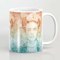 frida Mugs featuring Frida  by Aivé Trujillo