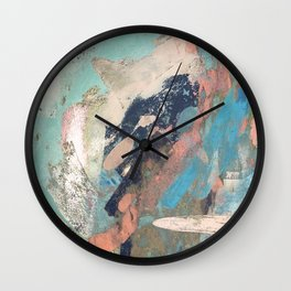 Cotton Candy: a colorful abstract mixed media piece in pastel green, pink, blue, and white Wall Clock