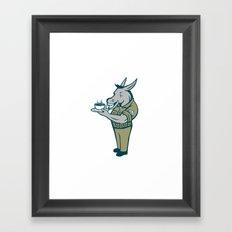Donkey Sergeant Army Standing Drinking Coffee Cartoon Framed Art Print