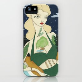 Tattooed Lady with Trees iPhone Case