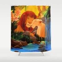 simba Shower Curtains featuring Can you feel the love tonight ? by Studinano by Shou'