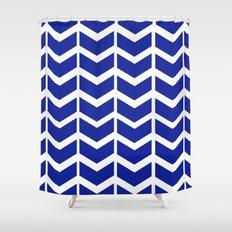 navy chevron Shower Curtain