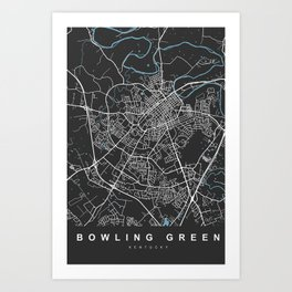 Bowling Green Map Kentucky | Black | More Colors, Review My Collections Art Print