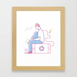 Teenage boy listening to music, line art style Framed Art Print