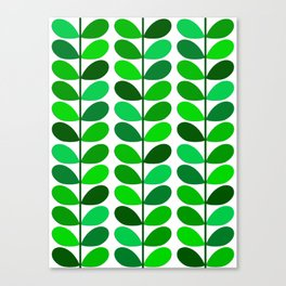 Mid Century Danish Leaves, Emerald and Lime Green Canvas Print