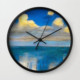 The Still Sea & Sailing Yachts Nautical Landscape by Emil Nolde Wall Clock