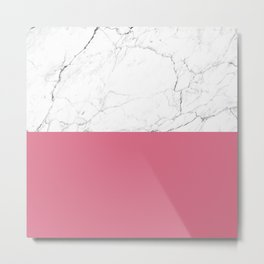 rose pink and white marble Metal Print