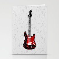 music notes Stationery Cards featuring Music Notes Electric Guitar by GBC Design