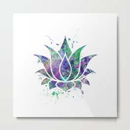 Lotus Flower Art Colorful Pastel Watercolor Gift Egyptian Flower Lotus Blossom Flowers Art Gift Metal Print