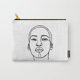 Woman's face line drawing illustration - Addie Carry-All Pouch