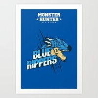 monster hunter Art Prints featuring Monster Hunter All Stars - Blue Rippers by Bleached ink