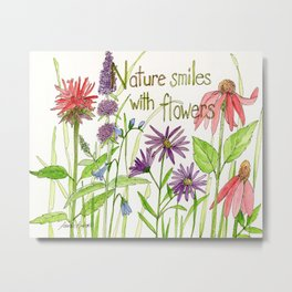 Nature Smiles with Flowers Watercolor Illustration Metal Print