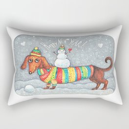 Dachshund in a suit with a snowman - New Year Rectangular Pillow
