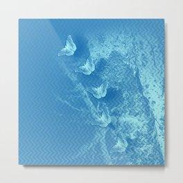 Butterflies and ghost tree in blue Metal Print