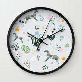 Green Horses Wall Clock