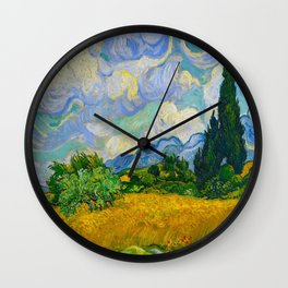 Wheat Field with Cypresses Vincent van Gogh Oil on canvas 1889 Wall Clock