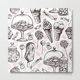 Black And White Sweet Food Art Metal Print