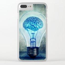 lightbulb brain shining Clear iPhone Case