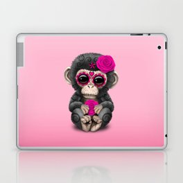 Pink Day of the Dead Sugar Skull Baby Chimp Laptop & iPad Skin