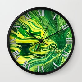 Elegant Crazy Agate 5 - Green and Yellow Wall Clock