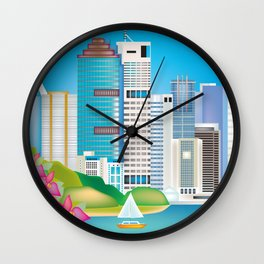 Brisbane, Australia - Skyline Illustration by Loose Petals Wall Clock