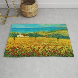 Rolling Hills of Red Poppies, Tuscany, Italy Landscape Painting Rug