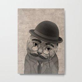 Vintage Cat monochrome Metal Print
