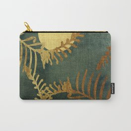 Golden Cycas leaves on dark green canvas Carry-All Pouch