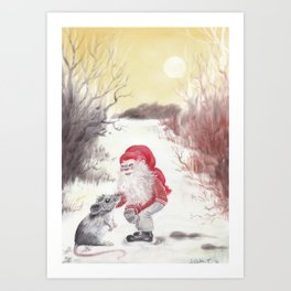 Gnome and mouse Art Print