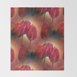 watercolored tulip pattern Throw Blanket