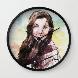 Watercolor Autumn Smiling Girl Wall Clock