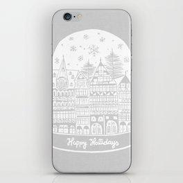 Linocut White Holidays iPhone Skin