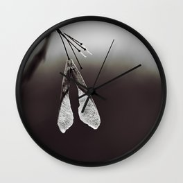 Maple Seed on Chocolate Brown Wall Clock