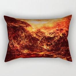 galaxy Mountains Fiery Orange & Red Rectangular Pillow