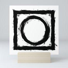 Black and white shapes splatter Mini Art Print