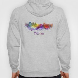 Tallinn skyline in watercolor Hoody