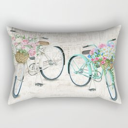 Vintage Bicycles With a City Background Rectangular Pillow