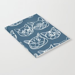Blue and White Silly Kitty Faces Notebook