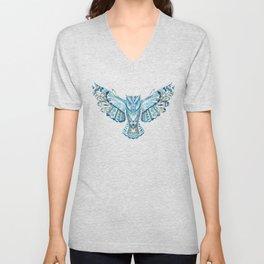 Flying Colorful Owl Design Unisex V-Neck