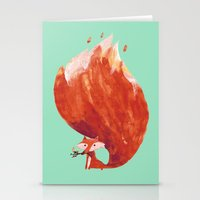 kitsune Stationery Cards featuring Kitsune (Fox of fire) by Picomodi