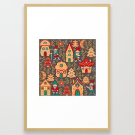 Fairy gnomes and magic houses.  Christmas trees, months and stars. Pattern in folk style. Framed Art Print
