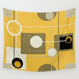 orbs and square gold yellow Wall Tapestry
