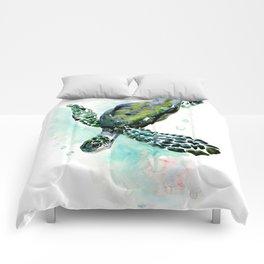 Sea Turtle, underwater scene,  green turquoise beach house design Comforters